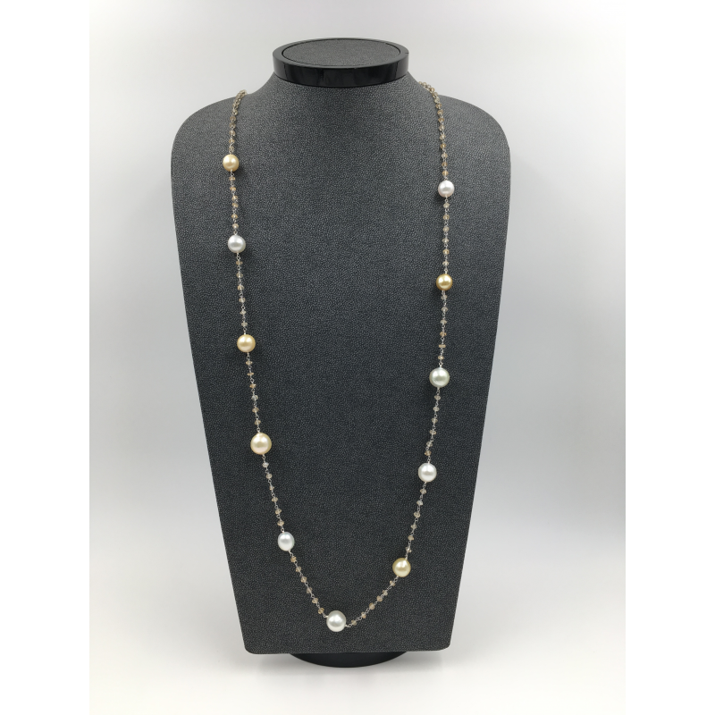 Vintage White and Golden South Sea Pearls Necklace