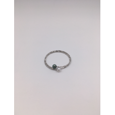 Classy Bangle in White Gold with White & Tahitian Pearls