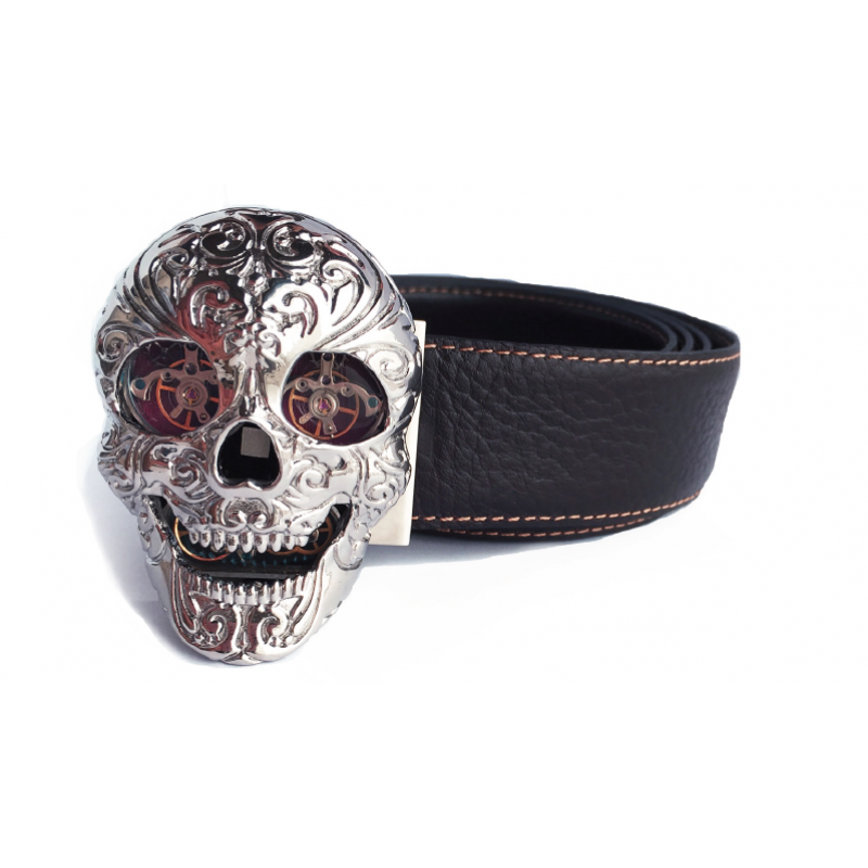 SKULL - Stainless Steel Rhodium plated - Red carbon eyes