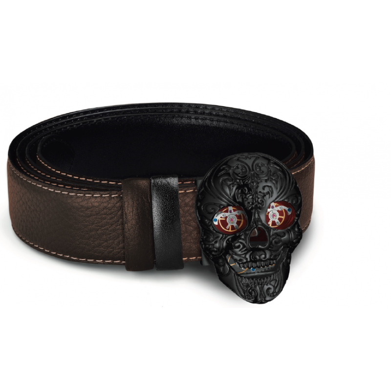 SKULL - Stainless Steel PVD Black  - Red carbon eyes