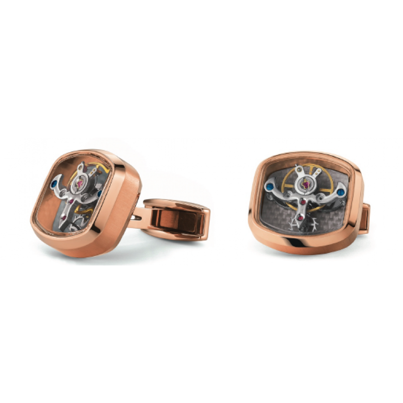 Tonneau Tourbillon - Stainless Steel Rose Gold plated - Carbon Silver