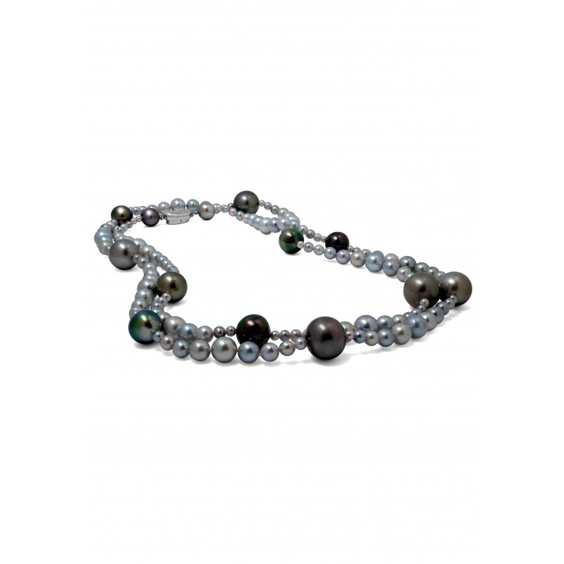 Lovely Tahitian & Japanese Akoya Pearls Necklace